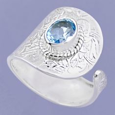 2.23cts natural blue topaz 925 sterling silver adjustable ring size 8.5 r54904