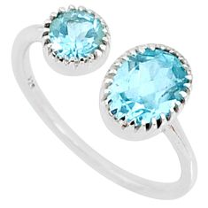 2.59cts natural blue topaz 925 sterling silver adjustable ring size 7.5 r68908