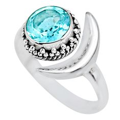 3.02cts natural blue topaz 925 sterling silver moon ring size 7.5 r89642