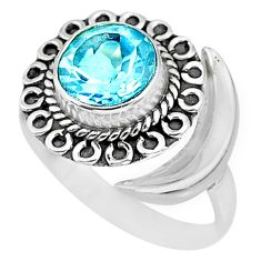 2.82cts natural blue topaz 925 sterling silver moon ring size 7.5 r89726
