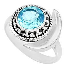 3.26cts natural blue topaz 925 sterling silver moon ring size 7.5 r89742