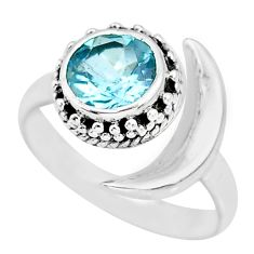 3.23cts natural blue topaz 925 sterling silver moon ring size 7.5 r89787