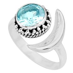 3.05cts natural blue topaz 925 sterling silver moon ring size 7.5 r89804