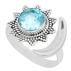 3.34cts natural blue topaz 925 sterling silver moon ring size 8.5 r89834