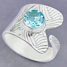 3.37cts natural blue topaz 925 sterling silver adjustable ring size 9.5 r90504