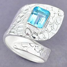 3.33cts natural blue topaz 925 sterling silver adjustable ring size 8.5 r90561