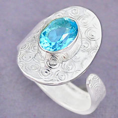 3.03cts natural blue topaz 925 sterling silver adjustable ring size 7.5 r90666