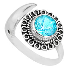 2.96cts natural blue topaz 925 sterling silver moon ring size 10 r89711