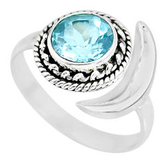 2.81cts natural blue topaz 925 sterling silver moon ring size 10 r89765