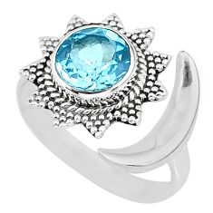 2.93cts natural blue topaz 925 sterling silver moon ring size 10 r89842