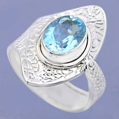 3.50cts natural blue topaz 925 sterling silver adjustable ring size 7 r54902