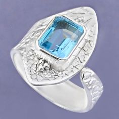 3.29cts natural blue topaz 925 sterling silver adjustable ring size 8 r54728