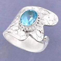 3.19cts natural blue topaz 925 sterling silver adjustable ring size 8 r54821