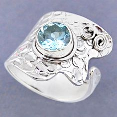 3.25cts natural blue topaz 925 sterling silver adjustable ring size 8 r54841