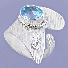 3.28cts natural blue topaz 925 sterling silver adjustable ring size 8 r54881