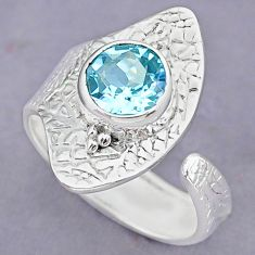 3.39cts natural blue topaz 925 sterling silver adjustable ring size 8 r90642