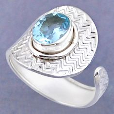 3.98cts natural blue topaz 925 sterling silver adjustable ring size 9 r54781