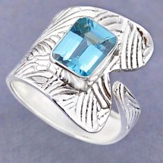 3.36cts natural blue topaz 925 sterling silver adjustable ring size 9 r54801