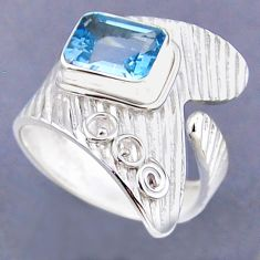 3.25cts natural blue topaz 925 sterling silver adjustable ring size 9 r54842