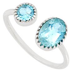 2.75cts natural blue topaz 925 sterling silver adjustable ring size 9 r68913