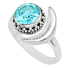 3.07cts natural blue topaz 925 sterling silver moon ring size 9 r89644