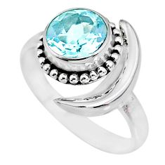3.46ct natural blue topaz 925 sterling silver adjustable moon ring size 9 r89669