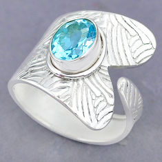 3.28cts natural blue topaz 925 sterling silver adjustable ring size 9 r90508
