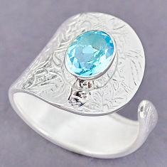 3.26cts natural blue topaz 925 sterling silver adjustable ring size 9 r90581