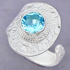 3.14cts natural blue topaz 925 sterling silver adjustable ring size 9 r90641