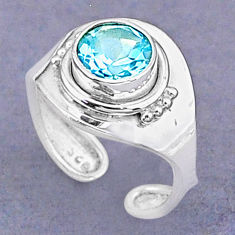 2.27cts natural blue topaz 925 sterling silver adjustable ring size 5.5 t8501