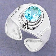 2.01cts natural blue topaz 925 sterling silver adjustable ring size 6.5 t8502