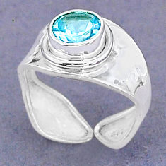 1.99cts natural blue topaz 925 sterling silver adjustable ring size 6.5 t8506