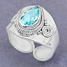 2.67cts natural blue topaz 925 sterling silver adjustable ring size 7.5 t8520