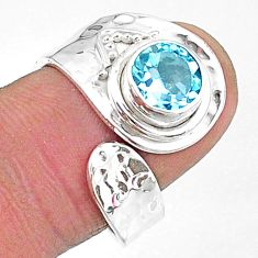 2.53cts natural blue topaz 925 sterling silver adjustable ring size 8.5 t8548