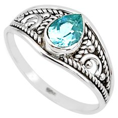 1.57cts natural blue topaz 925 silver graduation handmade ring size 9 t9276