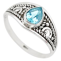 1.57cts natural blue topaz 925 silver graduation handmade ring size 9 t9277