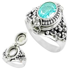 2.04cts natural blue topaz 925 sterling silver poison box ring size 7 t52818