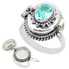 1.91cts natural blue topaz 925 sterling silver poison box ring size 8.5 t52816