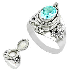 2.05cts natural blue topaz 925 sterling silver poison box ring size 8.5 t52819