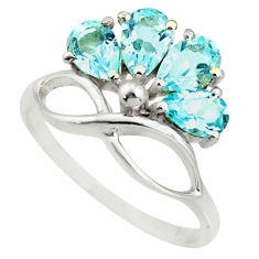4.26cts natural blue topaz 925 sterling silver ring jewelry size 7.5 r25396