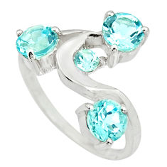 3.13cts natural blue topaz 925 sterling silver ring jewelry size 6.5 r25412