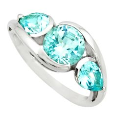 7.79cts natural blue topaz 925 sterling silver ring jewelry size 8.5 r25914