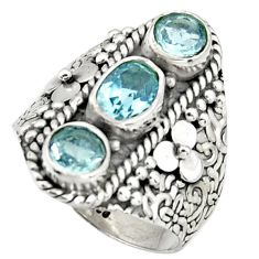 4.07cts natural blue topaz 925 sterling silver ring jewelry size 8.5 r38003