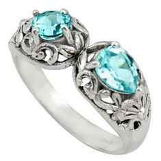 2.51cts natural blue topaz 925 sterling silver ring jewelry size 8.5 r40894