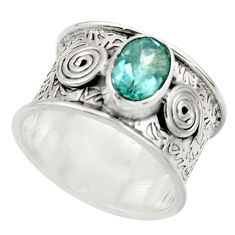 2.04cts natural blue topaz 925 sterling silver ring jewelry size 7.5 r44283