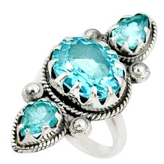 7.78cts natural blue topaz 925 sterling silver ring jewelry size 6 r67342