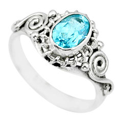 1.54cts natural blue topaz 925 sterling silver ring jewelry size 6 r90045
