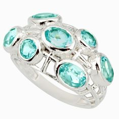 5.95cts natural blue topaz 925 sterling silver ring jewelry size 7 r25712