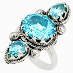 7.78cts natural blue topaz 925 sterling silver ring jewelry size 7 r67341