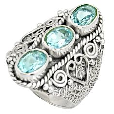 4.56cts natural blue topaz 925 sterling silver ring jewelry size 8 r37982